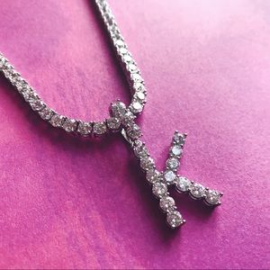 Diamond Letter Pendant w/ Tennis Chain
